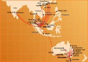 Các đường bay của hãng Tiger Air